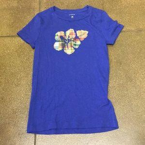 J Crew blue flower patch short sleeve t shirt